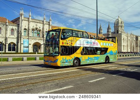 Lisbon - April 01 , 2018 : The Lisbon Sightseeing Bus Tour In Lisbon, Portugal. The Lisbon Bus Tour