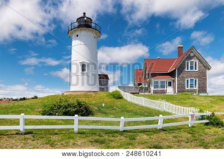 Nobska Point Light Lighthouse At Sunny Day, Woods Hole, Falmouth, Cape Cod Massachusetts, Usa