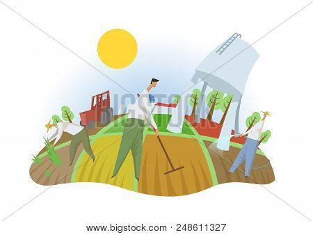 People Working In The Field, Fisheye View. Farming, Ecotourism, Kibbutz. Colorful Flat Vector Illust