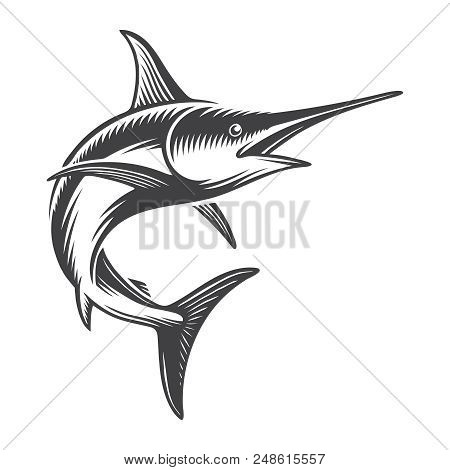 Vintage Ocean Swordfish Concept In Monochrome Style Isolated Vector Illustration