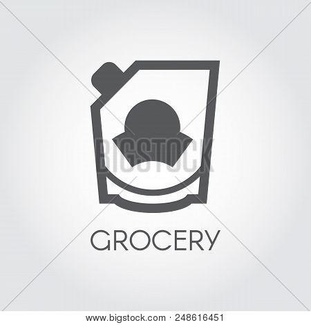 Grocery Glyph Icon. Mayonnaise, Ketchup, Doypack Or Mustard Flat Label. Food Series Button. Vector I