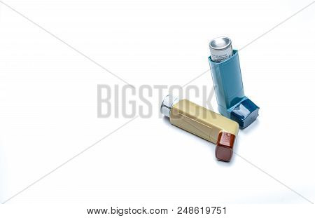 Asthma Inhaler. Asthma Controller, Reliever Equipment. Steroids And Bronchodilator Drug For Asthma A