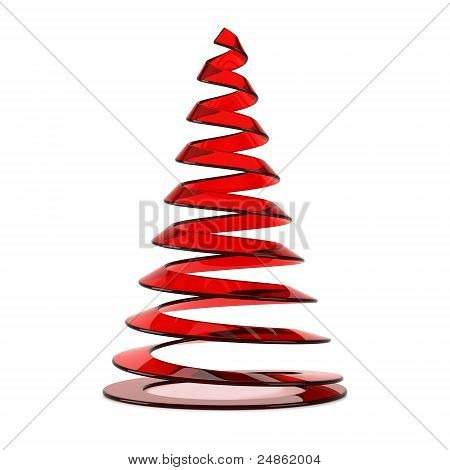 Stylized Christmas Tree In Red Glass