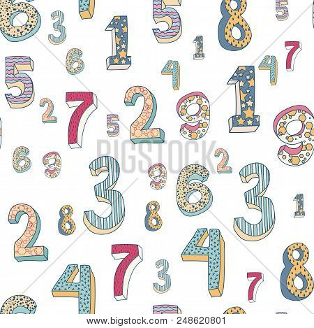 Cute Colorful Numbers Pattern. Volume Numbers With A Picture On Them, For A Birthday, A Holiday, To