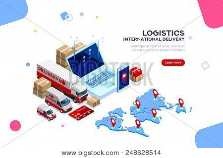 Distribution, Global Factory Infographic. Good Trade And Logistic, International Delivery. Supply Ne