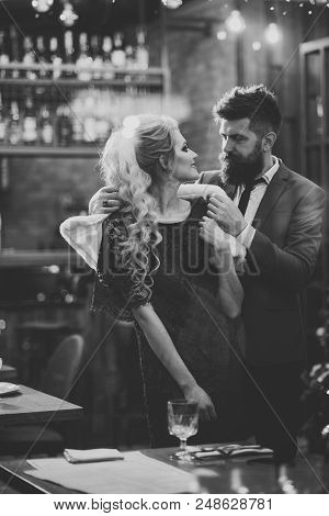 Admirer. Business Meeting Of Man And Woman. Couple In Love Meet At Restaurant. Valentines Day With S