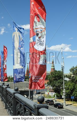 Mundial In Moscow On 02/07/2018. Big Moskvoretsky Bridge With Flags And A View Of The Kremlin. Russi