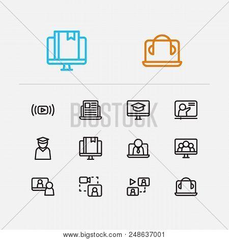 Online Education Icons Set. Education E-learning And Online Education Icons With Business E-learning