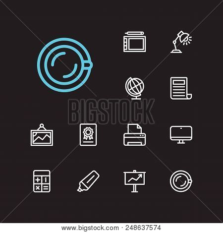 Workspace Icons Set. Presentation Board And Workspace Icons With Certificate, Printer And Tea Cup. S