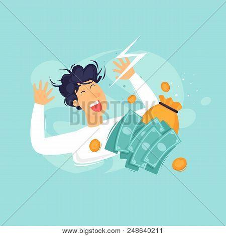 Happy Man With Money, Successful Businessman, Success. Flat Design Vector Illustration.