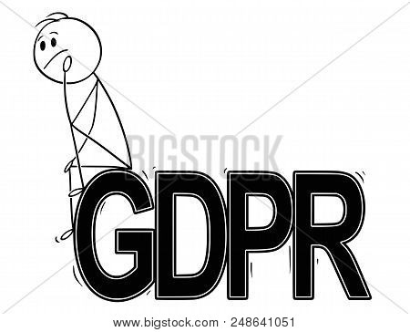 Cartoon Stick Drawing Conceptual Illustration Of Man Or Businessman Sitting On Big Letters Or Text G