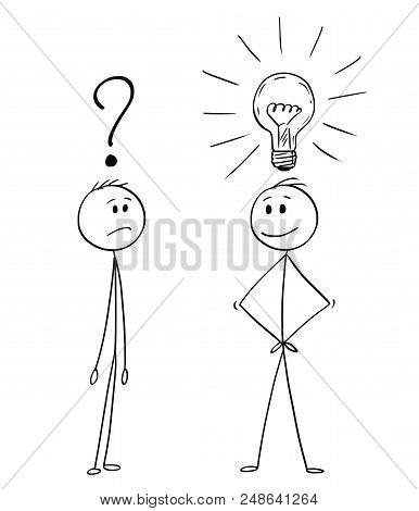 Cartoon Stick Drawing Conceptual Illustration Of Two Men Or Businessmen, One Of Them Is Unsure With