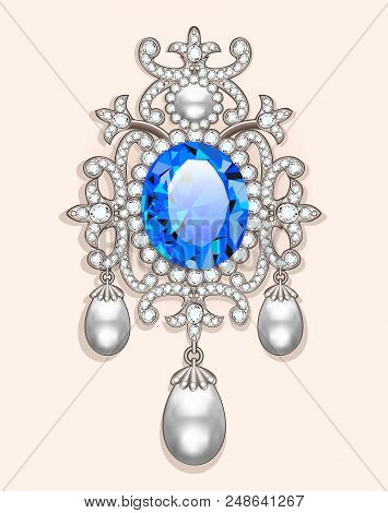 Illustration  brooch with pearls and precious stones. Filigree victorian jewelry. Design element poster