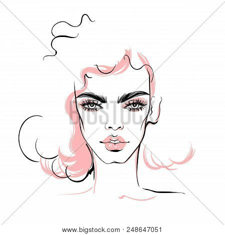Fashion Illustration. Vector Girl. Elegant Woman Portrait. Hand Drawn Stylish Woman In Sketch Style.