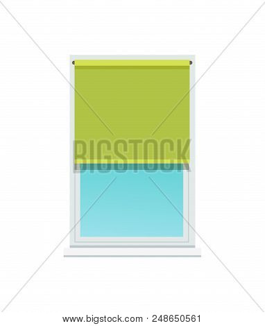 Plastic Window And Stylish Textile Green Jalousie. Interior Design Element Made Of Fabric. Bright Sh
