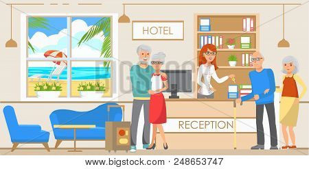 Old People Accommodation In Hotel. Booking A Hotel. Service On Vacation. Old People Came To Rest. Re