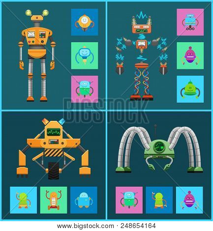 Robot Collection Icons Robotic Creatures With Radar And Electricity, Types Of Robots Set, Mechanisms
