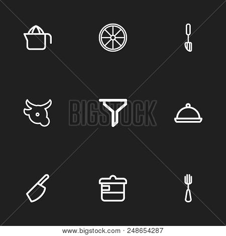 Set Of 9 Editable Cooking Icons Line Style. Includes Symbols Such As Casserole, Veal, Squeezer And M