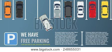 City Parking Lot With A Group Of Different Cars Top View. Public Car-park. Flat Illustration For Web