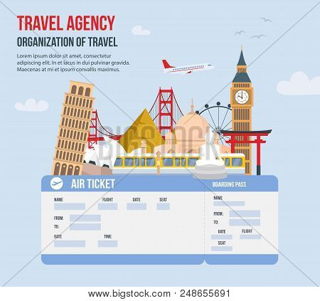Design For Travel Agency. Time To Travel On Vacation. Travel Around Globe. Advertising Of Travel Age