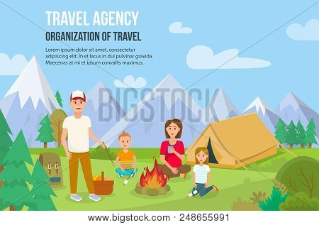 Family Camping Outdoors. Father, Mother, Son And Daughter Near Campfire. Parents And Children Have A