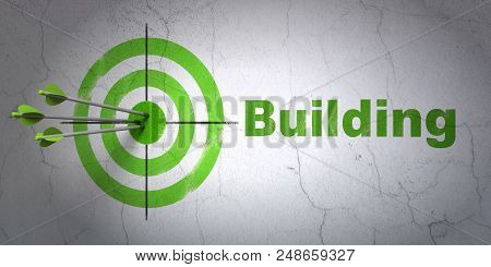 Success Constructing Concept: Arrows Hitting The Center Of Target, Green Building On Wall Background