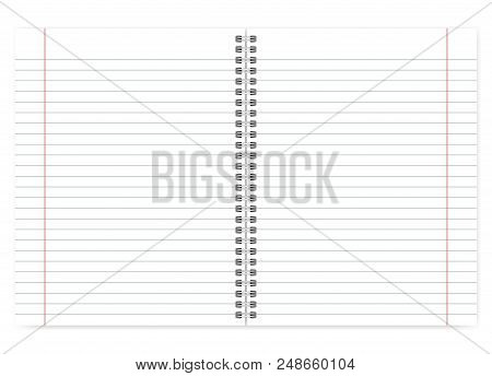 Open Letter Format Notebook, Vector Mock Up. Lined Pages With Margin. Spiral Bound Notepad Mockup. W