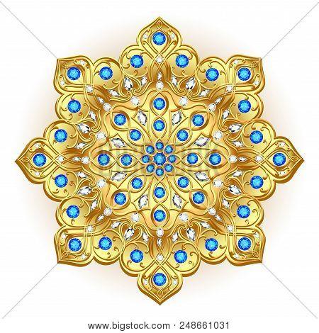 Mandala brooch jewelry, design element. Tribal ethnic floral pattern mandala round with precious stones. Geometric vintage ornamental background. poster