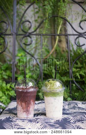 Summer Ice Fresh Drink. Chocolate Milkshake And Milk Green Tea With Ice Cream On Top