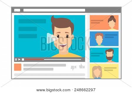 Young Handsome Male Blogger Making A Review. Advertising Online Using The Website. Popular Videoblog
