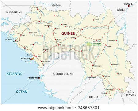The Republic Of Guinea Road Vector Map