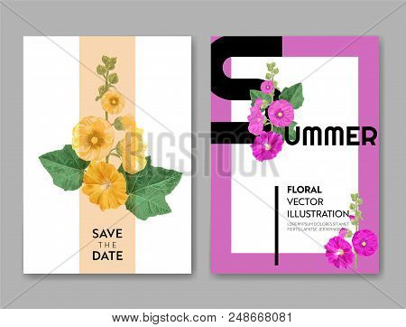 Wedding Invitation Template With Flowers And Palm Leaves. Tropical Floral Save The Date Card. Exotic