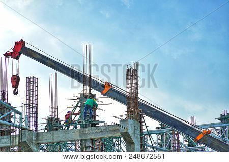 Construction Industry Of Engineer Business Concept With Worker Standing And Working On Building From