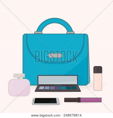 Purse, Perfume, Cosmetics And Mobile Phone. The Contents Of A Woman's Handbag. Vanity Table. Concept
