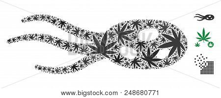 Intrude Microorganism Mosaic Of Hemp Leaves In Different Sizes And Color Tints. Vector Flat Hemp Lea
