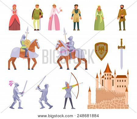 Medieval Knight Icon Set. Vector Illustration Of Medieval Cartoon Characters King, Queen, Peasants,