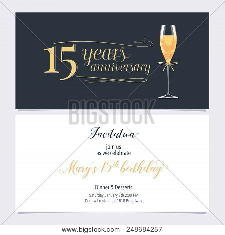 15 years anniversary vector photo free trial bigstock 15 years anniversary invitation vector illustration graphic design element with glass of champagne stopboris Image collections