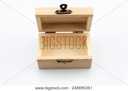 Wood Box Isolated On White Background