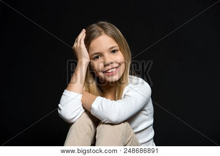 Beauty Kid Smiling With Adorable Look On Black Background. Beauty Salon. The Salon That Leaves A Smi