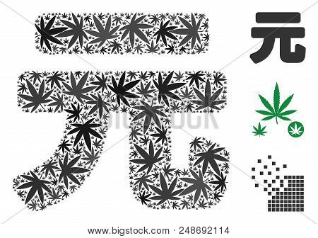 Yuan Renminbi Mosaic Of Hemp Leaves In Various Sizes And Color Tinges. Vector Flat Weed Objects Are