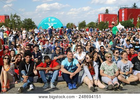 World Cup 2018 In Russia. Fans In The Fan Zone On The Sparrow Hills. Moscow