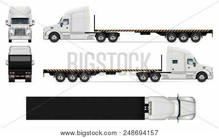 Flatbed Truck Vector Mockup On White For Vehicle Branding, Corporate Identity. View From Side, Front