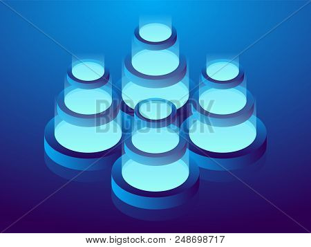 Cryptocurrency And Blockchain, Abstract Isometric 3d Illustration. Cryptocurrency Mining Farm, Vecto