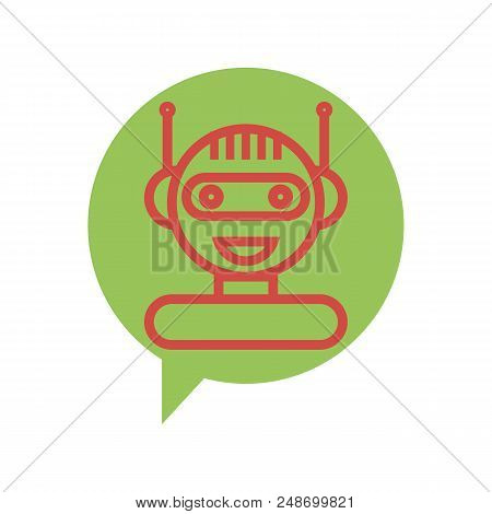 Red Line Chat Bot Icon On Green Speech Bubble. Artificial Intelligence Concept Of Ui. Cute Smiling C