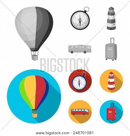 Vacation, Travel, Lighthouse, Compass .rest And Travel Set Collection Icons In Monochrome, Flat Styl