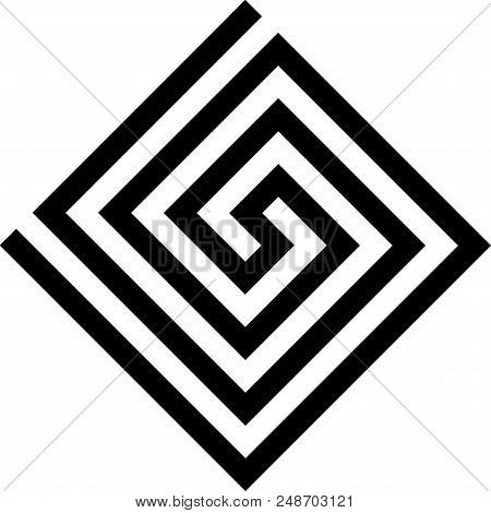 Labirinth Greek Symbol. Typical Egyptian, Assyrian And Greek Motives Vector Symbol. Greek Key. Arabi