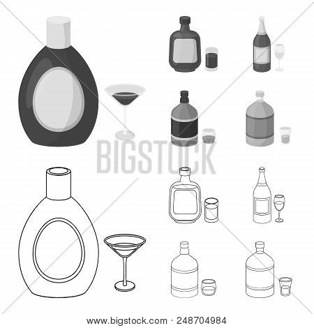 Liquor Chocolate, Champagne, Absinthe, Herbal Liqueur.alcohol Set Collection Icons In Outline, Monoc