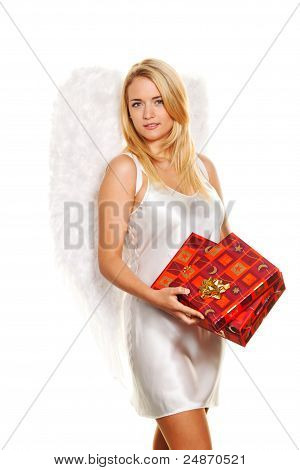angels for christmas with packages