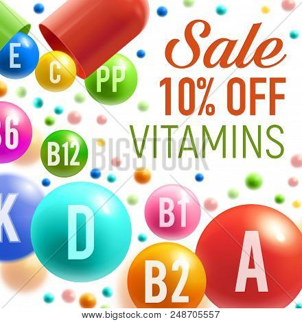 Vitamins And Multivitamins Sale Poster For Pharmacy Or Dietary Supplement Advertisement Design. Vect