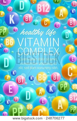 Vitamins And Multivitamins For Healthy Life Or Dietary Supplement Complex Advertisement Poster. Vect